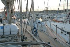 Blick über den Hafen von Port Pin Rolland